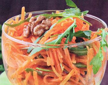 салат из моркови, меда и орехов