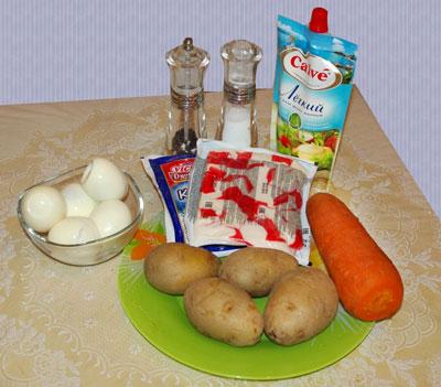 салат крабовый слоеный