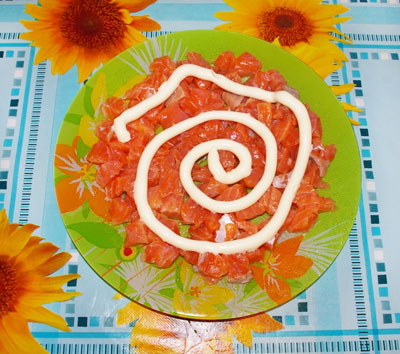 салат флагман фоторецепт с красной рыбой