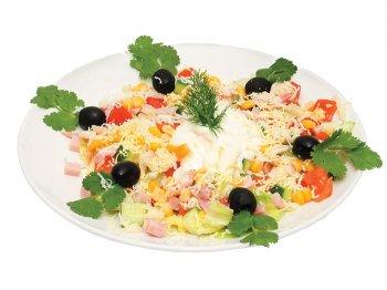 салат из яиц с ветчиной