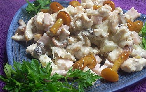 Салат с маринованными грибами и сыром рецепты с фото