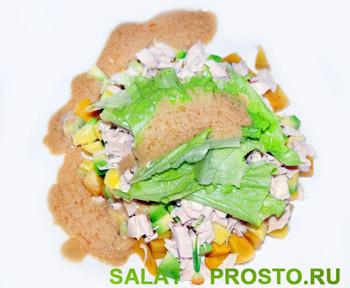 салат с манго и авакадо из курицы