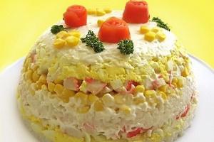 торт-салат с крабовыми палочками