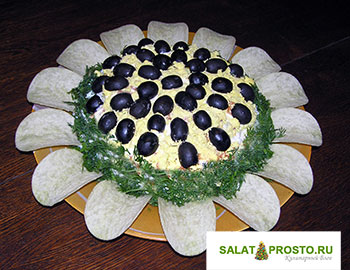 салат подсолнух пошаговый фоторецепт