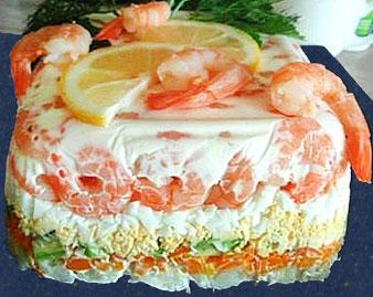 салат желейный с авакадо и креветками