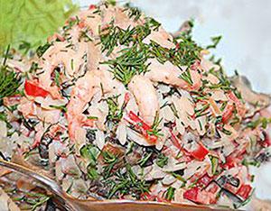 салат с креветками гренландия