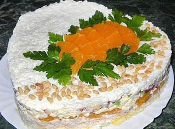 салат курица с апельсином и плавленным сыром