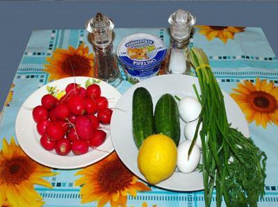 салат витаминный огурцы с редисом