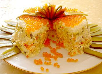 салат ксюша, слоеный из форели