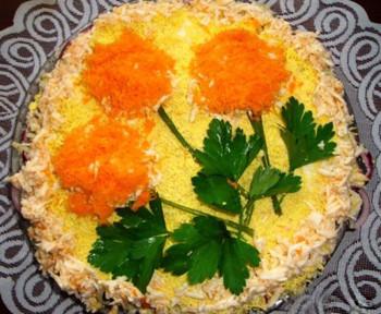салат цветы с курицей к 8 марта