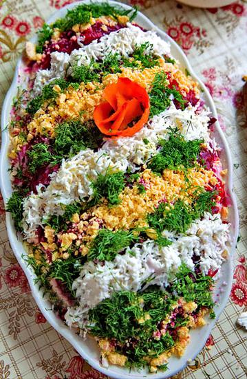 селедка под шубой, украшение салатов