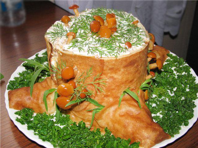 салат грибной пенек