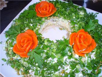 салат ностальгия, салат из курицы, украшение салатов