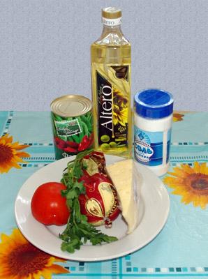 салат сытный с ветчиной, помидором и фасолью