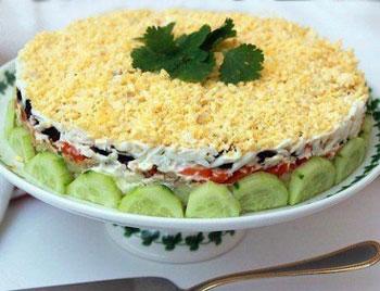 салат праздничный из печени трески