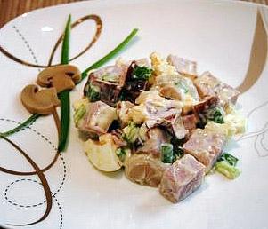 салат дубок из грибов и ветчины, рецепт салата с фото