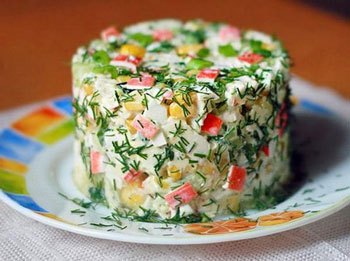 салат крабовый, салат из крабового мяса