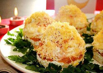 салат мимоза порционный, рецепт салата мимоза с фото