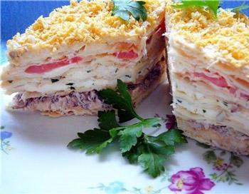 торт салат наполеон из курицы и грибов