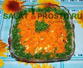 Салат с куриной печенью и желудками