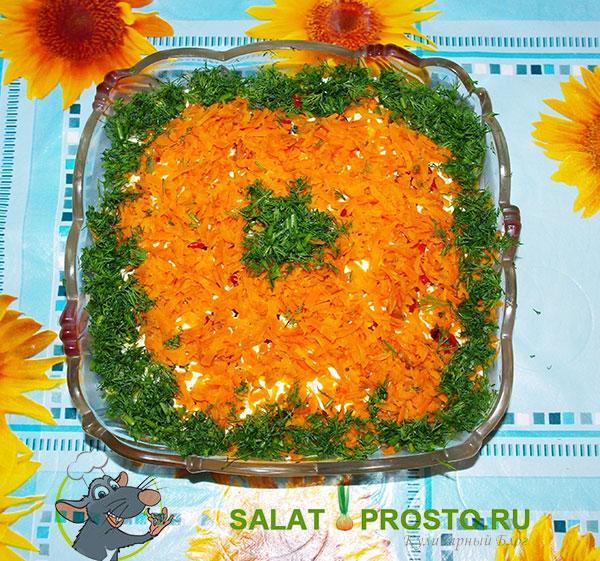 салат из куриной печени, слоеный вкусный салат, морковь, печень, огурцы, яйца, пошаговый рецепт
