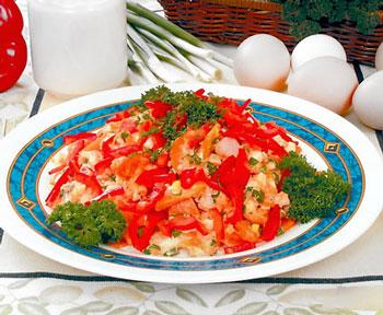 салат из селедки с морковью и перцем