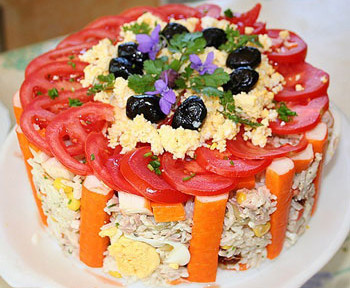 салат торт с сгрибами к празднику