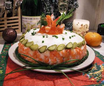 салат из блинов и икры