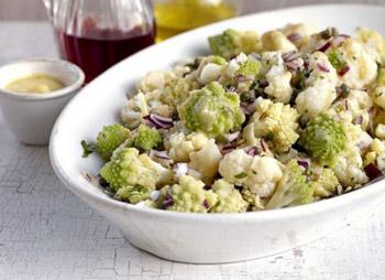 салат из цветной капусты и лука, рецепт овощного салата