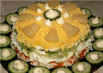 рецепт салата из курицы с морковью и ананасами