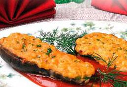 фаршированные баклажаны с сыром, луком и творогом