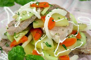 салат из баранины с картофелем и морковью по таджикски, таджикский салат с пряностями