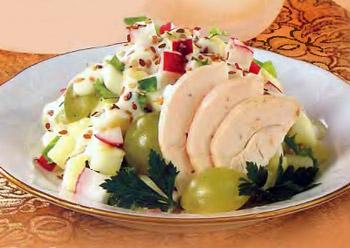 салат из индейки с виноградом и картофелем американка