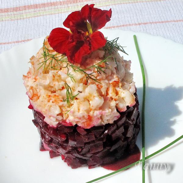 салат из свеклы и креветок