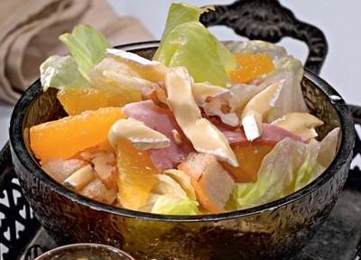 салат ветчина с айсбергом и мандаринами