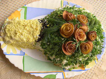 салат грибы мясо, украшение салатов