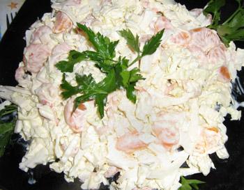 салат из креветок лотос