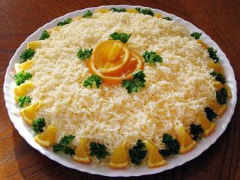 салат солнечный блик из апельсина и сыра