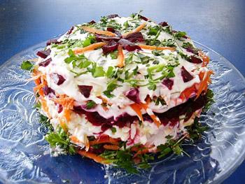 овощной торт на новый год, слоенный салат из овощей, свекла, картофель, морковь