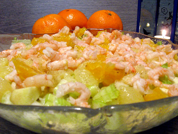 салат из креветок и мандаринов в пост