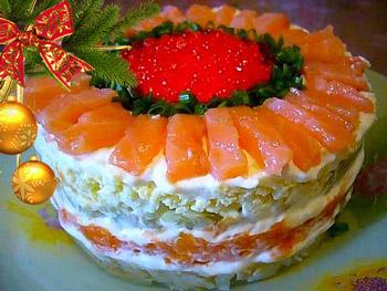 салат с семгой новогодний