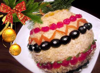 салат елочная игрушка, салат новогодний, салат из семги