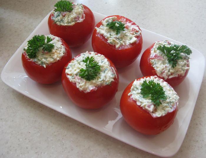 закуска, фаршированные помидоры