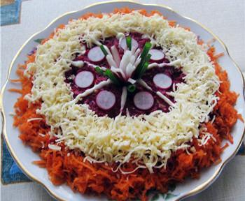 салат любовница, свекла, сыр, грецкие орехи, морковь