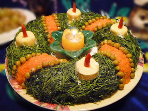 салат на рождество, на крещение, салат из мяса