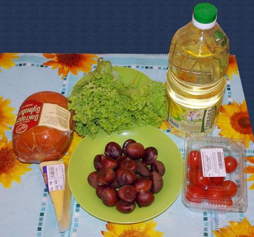 салат из каштанов и ветчины пошаговый рецепт с фото
