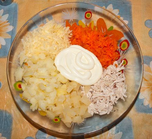 салат курица с ананасом пошаговый