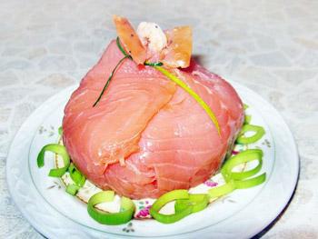 салат мешочек с семгой