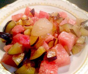 салат с арбузом и дыней