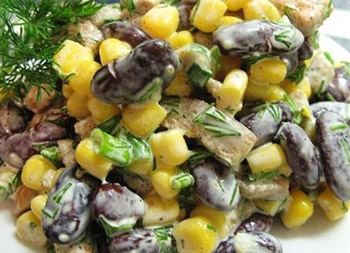 салат из фасоли с сухариками на каждый день